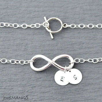 Large infinity initials Necklace, everyday Necklace, infinity jewelry, everlasting lover, enternity, gift BFF, gifts for her, toggle