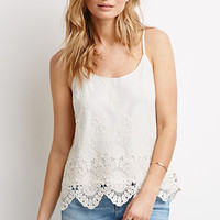 Embroidered Mesh Crochet-Paneled Cami