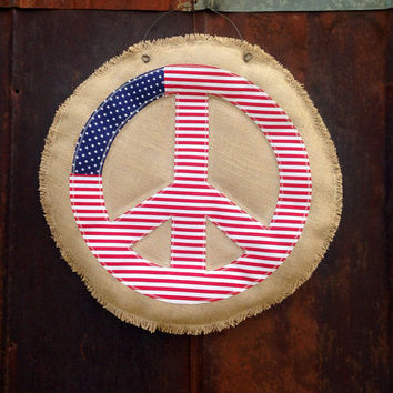 Burlap Peace Sign (3D) Hanger