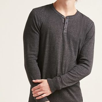 Long-Sleeve Ribbed Henley Tee