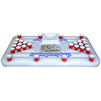 Inflatable Party Barge Floating Beer Pong Table with Cooler
