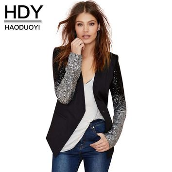 HDY Haoduoyi slim women Pu patchwork Black silver sequins Jackets Full sleeve Fashion winter coat for wholesale
