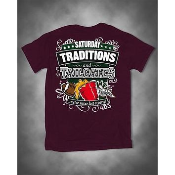Sweet Thing Saturday Traditions Never Lost a Party Maroon Football Girlie Bright T-Shirt