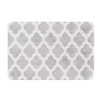 "Amanda Lane ""Gray Moroccan"" Grey White Memory Foam Bath Mat"