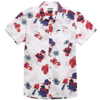 RVCA Poppy Short Sleeve Woven Shirt - Mens Shirt - Off White - Medium