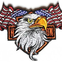 Patriotic Eagle Small Biker Patch
