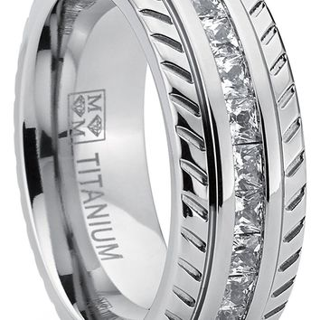 Men's Titanium Wedding Band, Engagement Eternity ring, Chevron design W/ Princess Cut Cubic Zirconia CZ