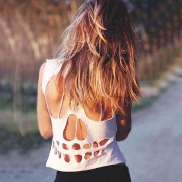ESBONS Personality Fashion Back Hollow Ripped Skeleton Solid Color Sleeveless Women's T-shirt Tops