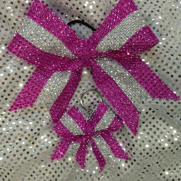 Hot Pink Stripe Rhinestone Cheer/Dance Bow Ribbon & Matching Keychain