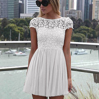 White Floral Lace Short Sleeve Pleated Chiffon Mini Dress