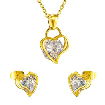 Brand New Crystal Stainless Steel Sets Pendant with Earrings,Lover Heart Shape with Zircon Jewelry Sets