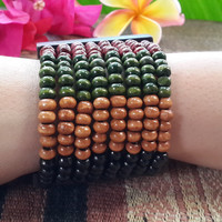 Earth Tone Green Elastic Bracelet Wood Beaded Mala Style Fair Trade