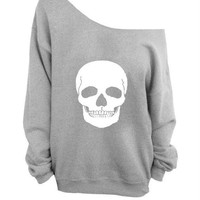 GRUNGE SKULL  off the  shoulder sweater, loose fit oversized   mizzombie