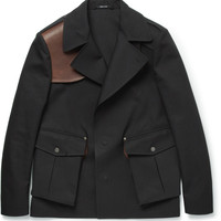 Maison Martin Margiela - Leather-Trimmed Cotton-Twill Short Trench Coat | MR PORTER