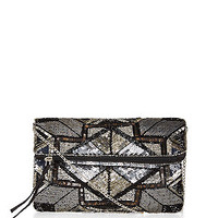 Black Sequin Fold Over Clutch