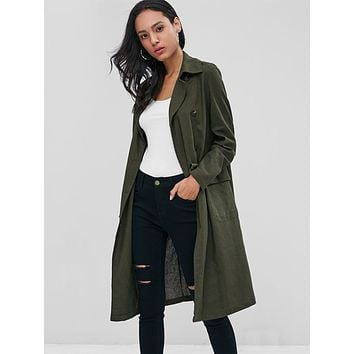 Lapel Collar Linen Trench Coat with Pockets for Women 4761