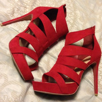 Stunning Spicy Red Strappy Heels By Candie's — Bib + Tuck