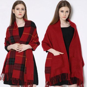 Winter Brand Blanket Scarf Plaid Women Fashionable Cashmere Faced Multifunction Thicken Warm Cape Shawl Wrap Oversized 200cm 318