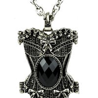 Black Stone Corset Necklace Gothic Design