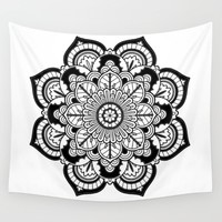 Black and White Flower Wall Tapestry by Azima