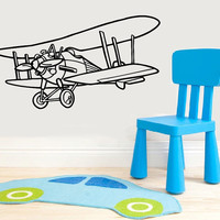 Vinyl Decal Biplane Plane Airplane In The Nursery Children Babes Kids Home Wall Decor Stylish Sticker Mural Unique Design for Any Room V893