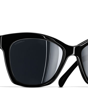 Black Butterfly Spring Chanel Sunglasses with Black Mirror Lenses