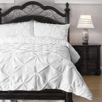 Cozy Beddings Emerson Pinch Pleat 4-Piece Comforter Set, Full, White