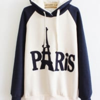 Fashion Paris Letters Printed Hoodies Women's Thick Hooded Pullovers Casual Sweatshirt