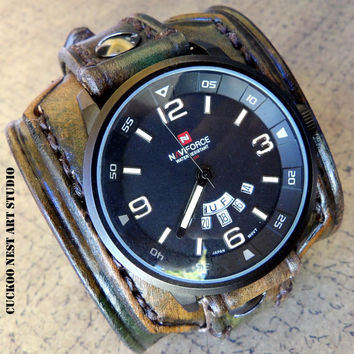 Leather Watch Cuff, Men's watch, Leather Wrist Watch, Leather Cuff, Bracelet Watch, Army green