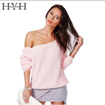 HYH HAOYIHUI Brand Fashion Women Pullover Sweaters Full Sleeve Solid Knitted Sweater Women Off Shoulder Design Sweaters Jumper
