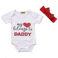 Newborn Baby Boys Girls Cute Letter Printed Romper Jumpsuit Outfits Set + Sequins Headband Clothing