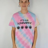 Tie Dye Shirt Pot Leaf 420 Large Men Soft Grunge Hippie Stoner Sativa Diva Weed Women's Unisex Clothing Tee Striped Washed Out Pale Grungy