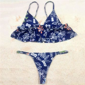 22a4c248af848 Bikini Set beach body PLAVKY 2018 Sexy Retro Exotic Floral Ruffl