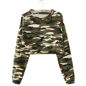 M/L/XL Fashion New Women Casual Camouflage Long Sleeve T shirts Long Sleeve Crop Top  Camouflage Hoodies High Waist Pullovers