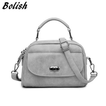 Bolish High Quality Numbuck Leather Women Top-Handle bag