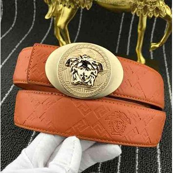 Versace Women Fashion Smooth Buckle Belt Leather Belt
