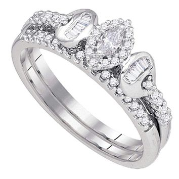 10k White Gold Marquise Diamond Women's Wedding Ring Set - FREE Shipping (US/CA)