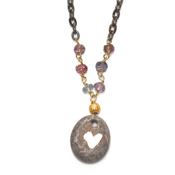 Gem*stones Necklace River Rock Necklace Heart Necklace Eco Jewelry Heart Pendant Pebble Necklace Gunmetal Necklace Boho Jewelry