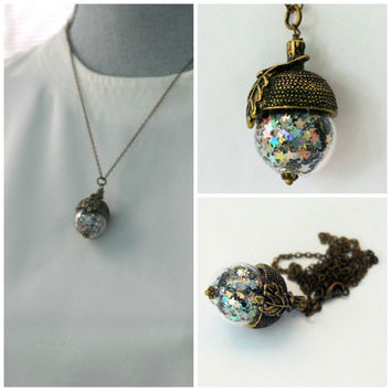 Peter Pan Acorn Necklace With Pixie Dust in Antiqued Brass and Glass Second Star Right