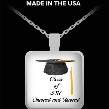 Class of 2017- Graduation Silver Square Pendant Necklace- Custom Printed Jewelry Graduation Gift