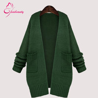 Sisibeauty  2015 Spring/Autumn New Style Fashion Women Cardigan Loose Large Free Size Knitted Sweater 3