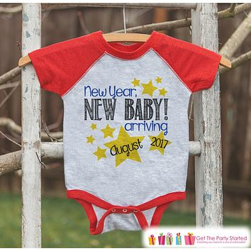 New Year New Baby Onepiece - Custom Outfit for Baby - New Years Shirt With Stars - Pregnancy Announcement - Baby Reveal - Red Baseball Tee