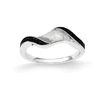 Sterling Silver and Blk Rhod Polished Blk CZ Wave Ring