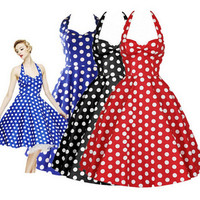 Women Summer Floral Print Retro Vintage 50s Polka Dot Casual Party Rockabilly Dress Plus Size Big Swing Dress Vestidos Femininos