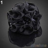 Korean Womens Chiffon Rose Flower Bow Jaw Clip Barrette Hair Claw Accessories