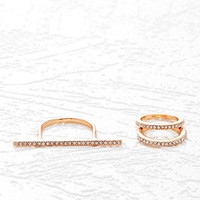 Rhinestone Bar Ring Set