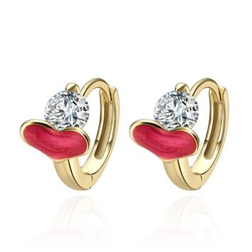 Tiny Small Cute Royal Pink Hearts Stud Style White Crystals Lucky Charms Gold-Tone Earrings
