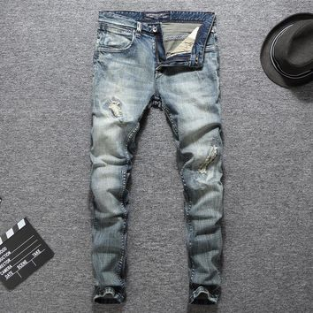 Men Ripped Holes Weathered Slim Pants Jeans [748305875037]