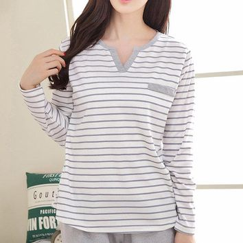 Cozy Cotton Stripe Sleepwear Sets Long Sleeve Pajamas For Women
