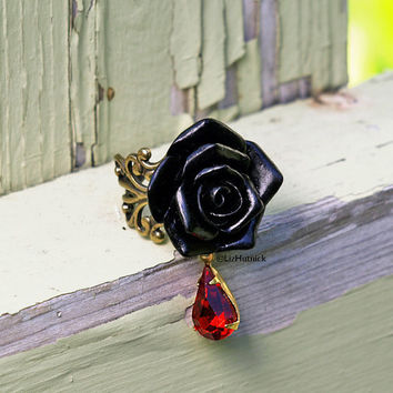 Black Widow Rose Ring. Black Gothic Rose Ring. Red Crystal Droplet. Vampire Fashion. Adjustable Ring